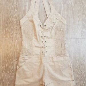 Tan Halter Lace-up Romper